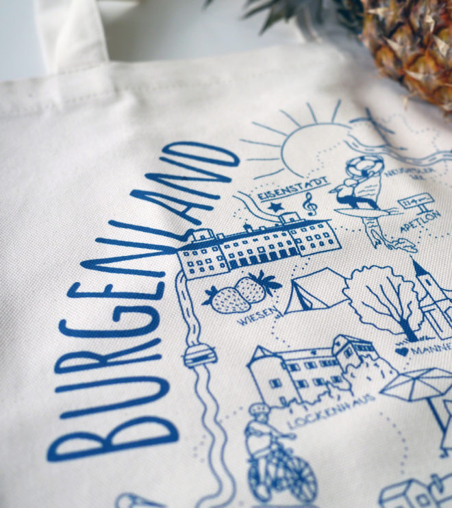 Biobaumwolle Tasche - Burgenland - Siebdruck