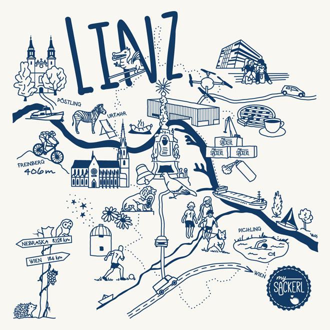 Linz Karte Illustration